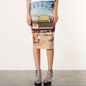 Topshop Big Wheel Printed Stretch Tube Skirt